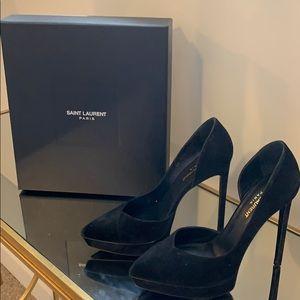 YSL black suede heels in excellent condition